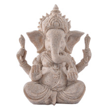 Top quality cheap small Sand stone Indian Elephant God Ganesha buddha statue for office desk decoration 14373-3