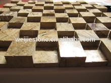 Natural brown stone 3d model mosaic,Rainforest brown marble wall tile mosaic