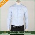 de alta calidad slim fit puro bordado de algodón de los hombres camisas de vestir con plisado