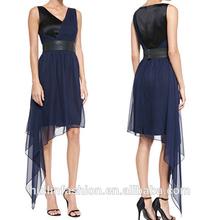 V neck sleeveless gathered natural waist silk chiffon dress