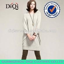 2014 Korean ladies autumn oversize pure color long bat sweater with three quarter