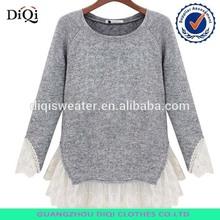 Europea de la moda de encaje más dulce de costura de prendas de punto jersey largo- manga suéter