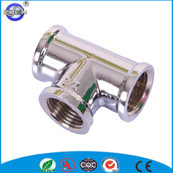 Chrome plated polishing brass plumbing tee compression fitting for pe pipe