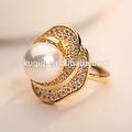 Beutiful nozze d'oro zircone anello perla