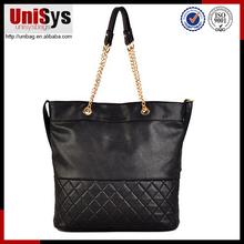 Popular quilted design women handbag,black PU tote bag,luxury metal handle bag