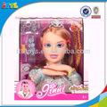 Novo estilo boneca acessórios menina make up fashion big head dolls plástico styling cabeça da boneca