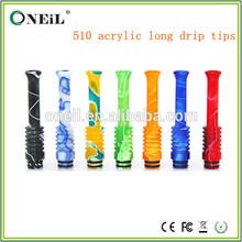 e-cigarette 510 acrylic 7cm long drip tips,silicone drip tips on sale