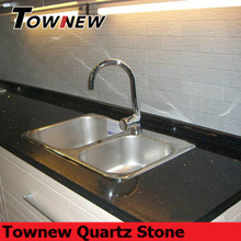 Black spakling artificial quartz surface kitchen top