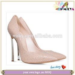 2015 luxury point toe sheer crystals rhinestones wedding shoes high heels spring shoes pumps love story!