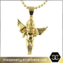 Hip hop style rose gold plated large feather angel wings with cubic zirconia micro pave setting