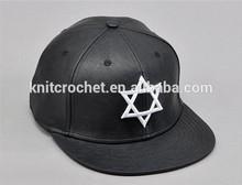 Adjustable Embroidery Shield of David Jewish Star Solomon's seal faux leather Snapback caps black flat brim Baseball Cap Fashion