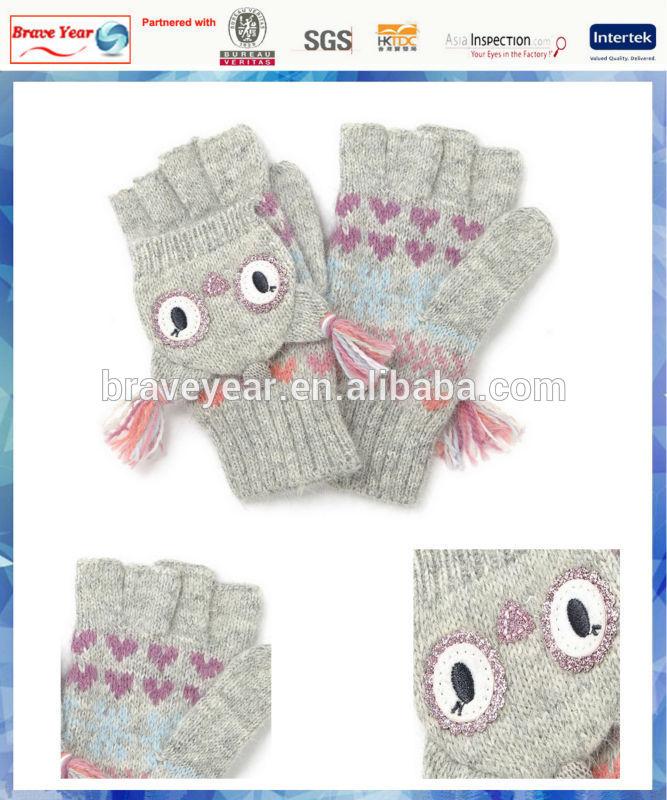 fluffy Fairisle owl cappped mitten children knit gloves