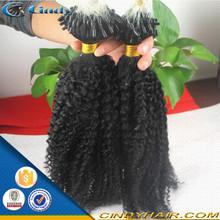 remy human wholesale virign brazilian kinky curly micro loop hair extension