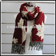 2014 wholesale leaves print fashion design scarf made of pashmina