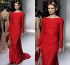 NI-383 2014 Paris Fashion Week Scoop Neck Long Sleeve Floor Length Ruby Formal Long French Evening Dress