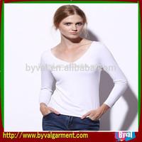 100% cotton Blank fashion Sexy Lady V neck 100 cotton shirts OEM logo for printing