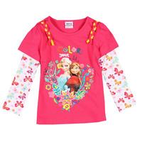 2-6T (F5365#fuchsia)Children clothes frozen princess moves garment girl winter cotton printed tops