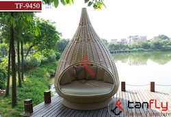 TF-9450 rattan nestrest/ birdnest/Rattan hanging bed, Outdoor woven wicker water drop nest