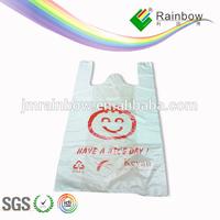 LDPE Plastic Printed Happy Face Shopping T-Shirt Bag