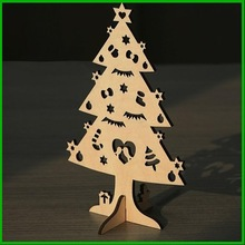 3D nature color wooden christmas tree for hanging