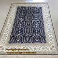 الحرير الفني 4'x6' الأزرق العميق من السجاد يدويا من الحرير البساط الفارسي