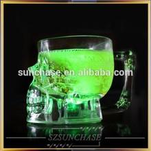 Multi color changing LED skull glass cup,led light up beer mug for drink