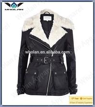 2014 Wholesale black faux fur collar biker coat leather jacket for women cycling jacket