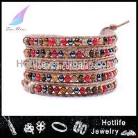 hot sale 2014 stone leather bracelet