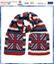 100% acrylic boys chunky stripe knit union scarf ,american flag scarf,flag knit scarf