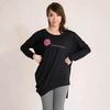 Ladies black wool printed pattern with wrinkle hem tops, casualwear, loungewear, sleepwear