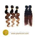 Ombre especializados de color twotone 100% chino natural virgen humanos paquete de tejer del pelo extensiones