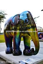 Large Garden Fiberglass Animal painted sculptures Artificial color print Elephant Statues
