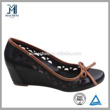 New design cute black wedge lady shoe 2013