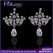 Factory Direct Princess Crown Cubic Zirconia Jewelry Tear Drop Earrings For Wedding