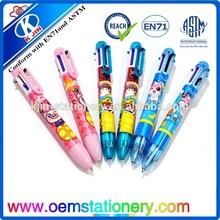6 color ball point pen /promotional ball pen/advertising ball pen with logo