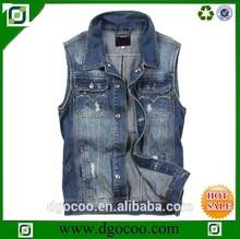High quality fashion western cool scratch washed design boys and mens denim vest