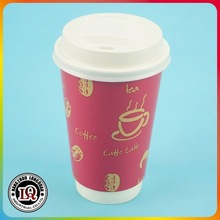 16oz Disposable Double Wall Coffee Paper Cup With Lids