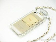 Luxury BRAND Super Clear Perfume Bottle Gold CC Soft TPU Case Chain Lanyard Handbag Case Cover For iPhone 5 5G 5S 4 4G 4S