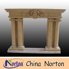 natural marble carved Column and flower Indoor fireplace NTMF-F169