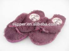 beautiful soft plush ladies bedroom flip flops with ribbon
