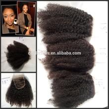 Mongolian virgin human hair afro kinky curly lace closure and bundles