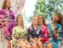 Wholesales Long Silk Satin Nightgown, Silk Japanese Bjj Fringe Peacock Kimono ,Women Wedding Dress Silk Robe