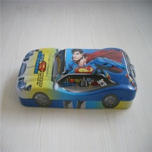Super man pattern car shaped students or kids tin pencil case
