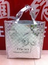 Custom made metallic laminated non woven silver tote bag