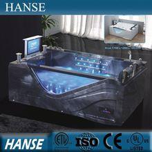 HS-B313 black acrylic bathtub/jet whirlpool bathtub with tv/double whirlpool bathtubs