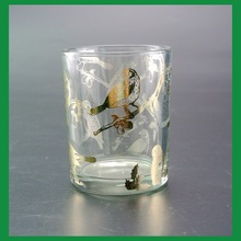 wholesale bird pattern glass votive candle holder with foil decal for home decoration