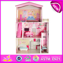 2015 Beartiful princess wooden doll house for kids,Pretend Play Detailed Toy Wooden Doll House,baby wooden toy dollhouse W06A016