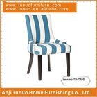 stripe blue and white linen fabric wooden dining chair furniture TB-7495