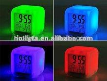 Cheap price fashion digital table lcd alarm clock/7 color change led digital lcd alarm clock