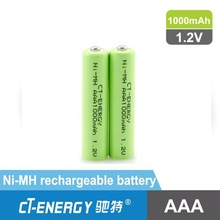 1.2V /1.5v aaa rechargeable battery 1000mah Ni-MH rechargeable battery